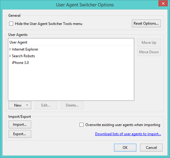 UserAgent-Switcher-Settings