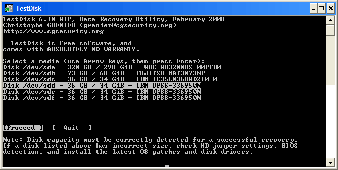 Test Disk Data Recovery